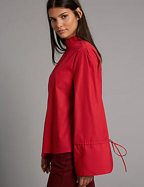 Pure Cotton Poplin Long Sleeve Shell Top, RED, catlanding