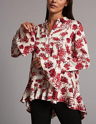 Chemise à manches longues et imprimé fleuri, IVOIRE ASSORTI, catlanding