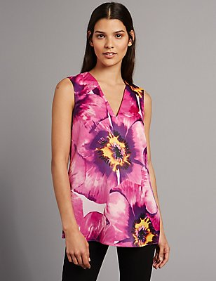 Floral Print V-Neck Sleeveless Shell Top, FUCHSIA MIX, catlanding
