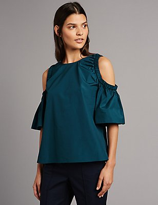 Pure Cotton Cold Shoulder Shell Top, PEACOCK, catlanding