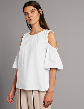 Pure Cotton Cold Shoulder Shell Top, WHITE, catlanding