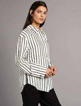 Striped Long Sleeve Shirt, IVORY MIX, catlanding