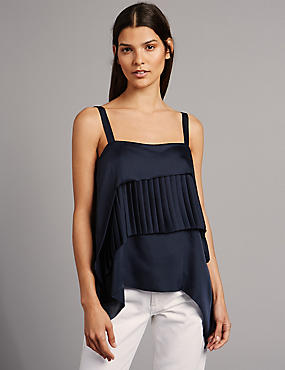 Pleated Square Neck Camisole Top, INK, catlanding