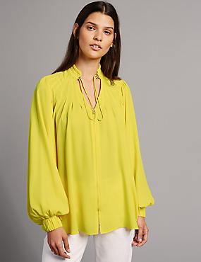Pleated V-Neck Long Sleeve Blouse  , YELLOW, catlanding
