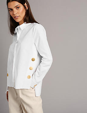 Pure Cotton Button Detail Long Sleeve Shirt, WHITE, catlanding