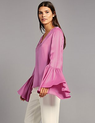 Satin Flared Cuff V-Neck Shell Top, PALE PINK, catlanding
