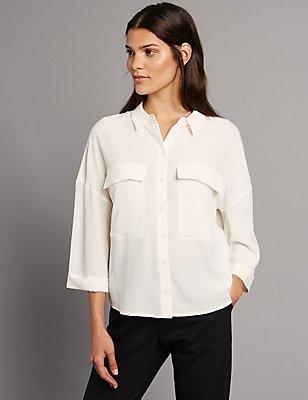 Pure Silk 3/4 Sleeve Shirt, IVORY MIX, catlanding