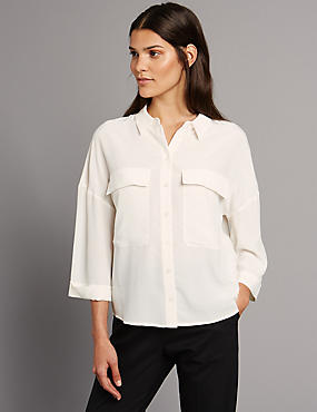 Pure Silk 3/4 Sleeve Shirt, IVORY MIX, catlanding