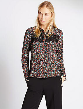 Lace Panel Ditsy Floral Shirt, BLACK MIX, catlanding