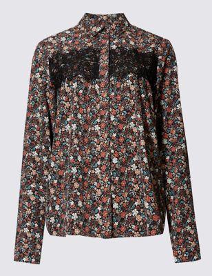 Рубашка с мелким цветочным принтом и кружевной вставкой M&S Collection T435498B