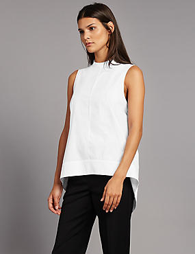 Pure Cotton Poplin Round Neck Shell Top, WHITE, catlanding