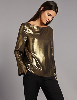 Metallic Slash Neck Long Sleeve Shell Top, GOLD, catlanding