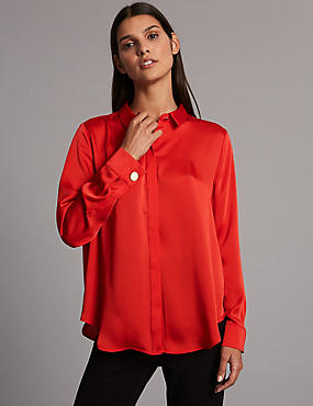 Side Split Long Sleeve Shirt, RED, catlanding