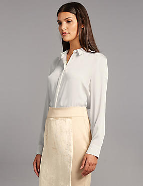Side Split Long Sleeve Shirt, IVORY, catlanding