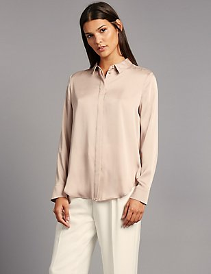 Side Split Long Sleeve Shirt, GOLD, catlanding