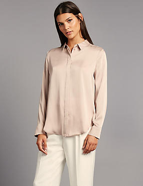 Side Split Long Sleeve Shirt, , catlanding