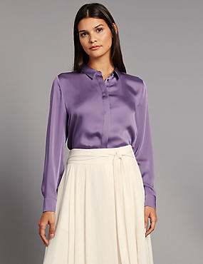 Side Split Long Sleeve Shirt, MEDIUM GRAPE, catlanding
