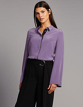 Pure Silk Grosgrain Long Sleeve Shirt, MEDIUM GRAPE, catlanding