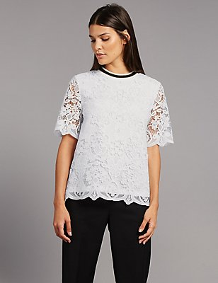 Lace Contrasting Neckline Shell Top, WHITE MIX, catlanding