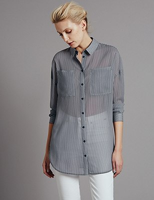 Longline Striped Shirt, NAVY MIX, catlanding