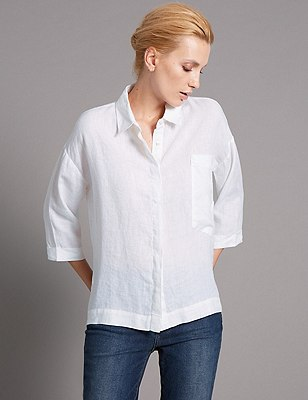 Pure Linen Tailored Fit Boxy Shirt, SOFT WHITE, catlanding