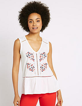 Pure Cotton Embroidered Shell Top, IVORY MIX, catlanding