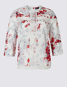 PLUS Pure Cotton Printed Pintuck Blouse, IVORY MIX, catlanding
