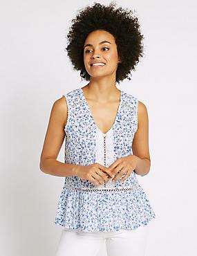 Pure Cotton Floral Print Shell Top, BLUE MIX, catlanding