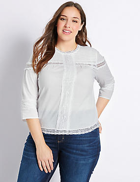 PLUS Pure Cotton Pintuck 3/4 Sleeve Blouse, SOFT WHITE, catlanding