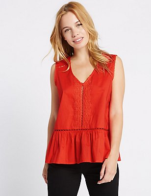 PETITE Pure Cotton V-Neck Sleeveless Blouse, RED ORCHID, catlanding