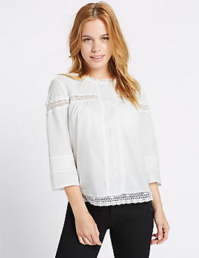 PETITE Pure Cotton Pintuck Blouse, SOFT WHITE, catlanding