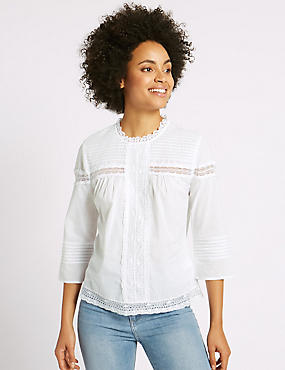 Pure Cotton Pintuck 3/4 Sleeve Blouse, SOFT WHITE, catlanding