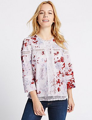 PETITE Pure Cotton Pintuck Printed Blouse, IVORY MIX, catlanding