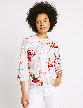 Pure Cotton Floral Print 3/4 Sleeve Blouse, IVORY MIX, catlanding