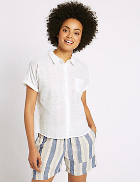 Pure Cotton Broderie Short Sleeve Shirt, SOFT WHITE, catlanding