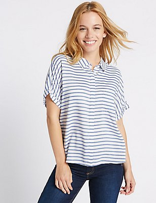 PETITE Striped Short Sleeve Shirt, BLUE MIX, catlanding
