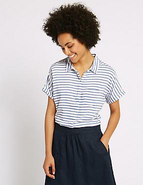 Striped Short Sleeve Shirt, BLUE MIX, catlanding