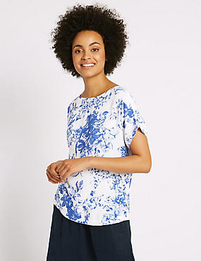 Floral Print Tie Back Shell Top , BLUE MIX, catlanding