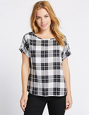 PETITE Modal Blend Checked Shell Top, BLUE MIX, catlanding