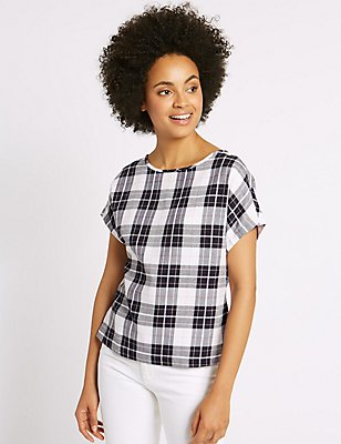 Modal Blend Checked Tie Back Shell Top, BLUE MIX, catlanding