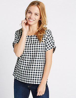 PETITE Checked Tie Back Shell Top, NAVY MIX, catlanding