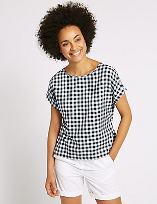 Cotton Blend Gingham Short Sleeve Shell Top, NAVY MIX, catlanding