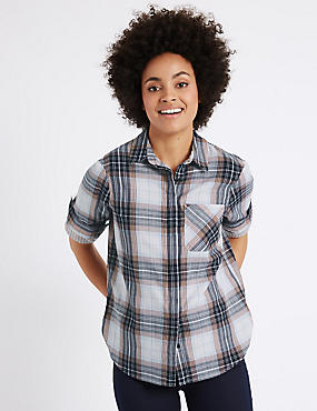 Pure Cotton Checked Double Cloth Shirt, CORAL MIX, catlanding