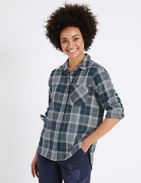 Pure Cotton Checked Double Cloth Shirt, NAVY MIX, catlanding