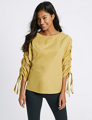 Pure Cotton Slash Neck Ruched Sleeve Blouse, , catlanding