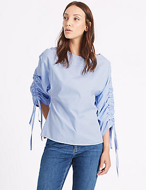 Pure Cotton Slash Neck Ruched Sleeve Blouse, CHAMBRAY, catlanding