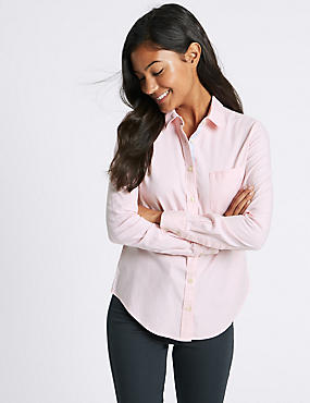 Pure Cotton Oxford Long Sleeve Shirt, PALE PINK, catlanding