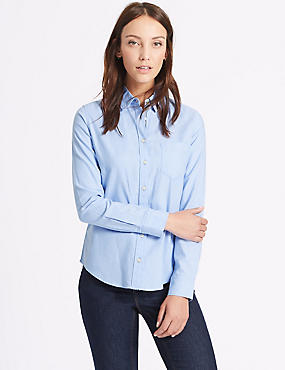 Pure Cotton Oxford Long Sleeve Shirt, CHAMBRAY, catlanding