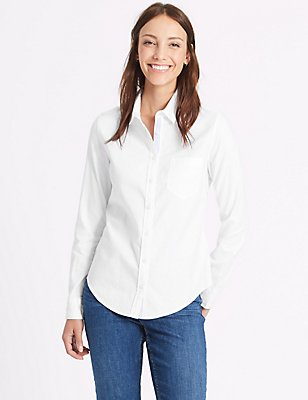 Pure Cotton Oxford Long Sleeve Shirt, WHITE, catlanding