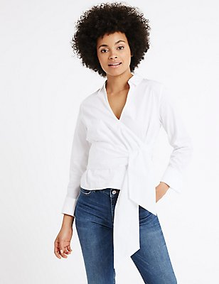 Pure Cotton Poplin Wrap Long Sleeve Blouse, WHITE, catlanding